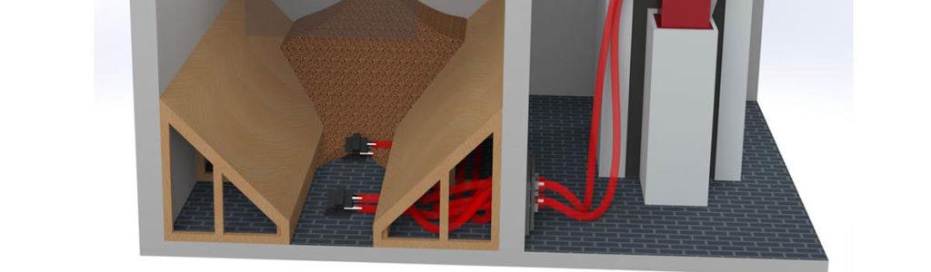 Lagerraum für Pellets mit Schrägboden und Entnahmesonden