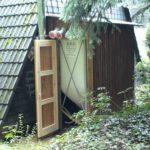 Pelletsilo Außen im Holzverschlag