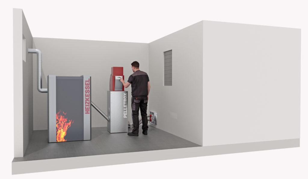 Pelletlagerraum mit Sicht auf Bedienung Saugsystem