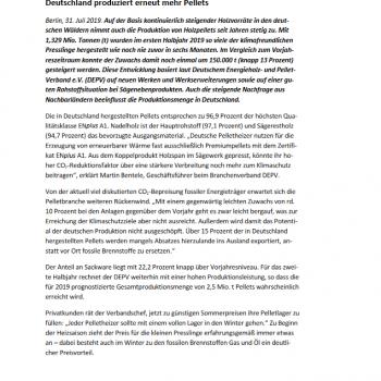 Pressemitteilung DEPV Holzpelletproduktion
